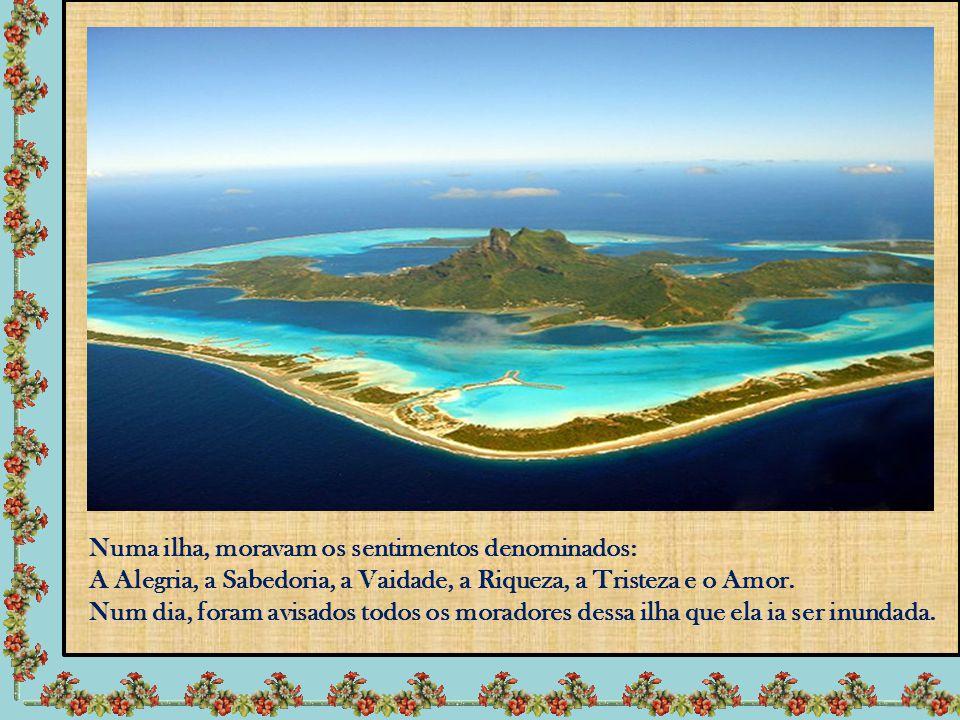 Numa ilha, moravam os sentimentos denominados: A Alegria, a Sabedoria, a Vaidade, a Riqueza, a Tristeza e o Amor.