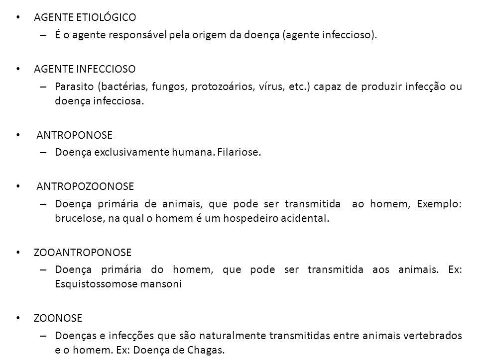 AGENTE ETIOLÓGICO É o agente responsável pela origem da doença (agente infeccioso). AGENTE INFECCIOSO.