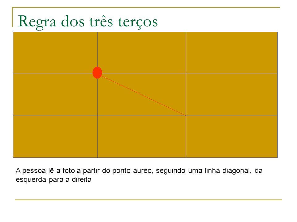 Regra dos três terços A pessoa lê a foto a partir do ponto áureo, seguindo uma linha diagonal, da esquerda para a direita.