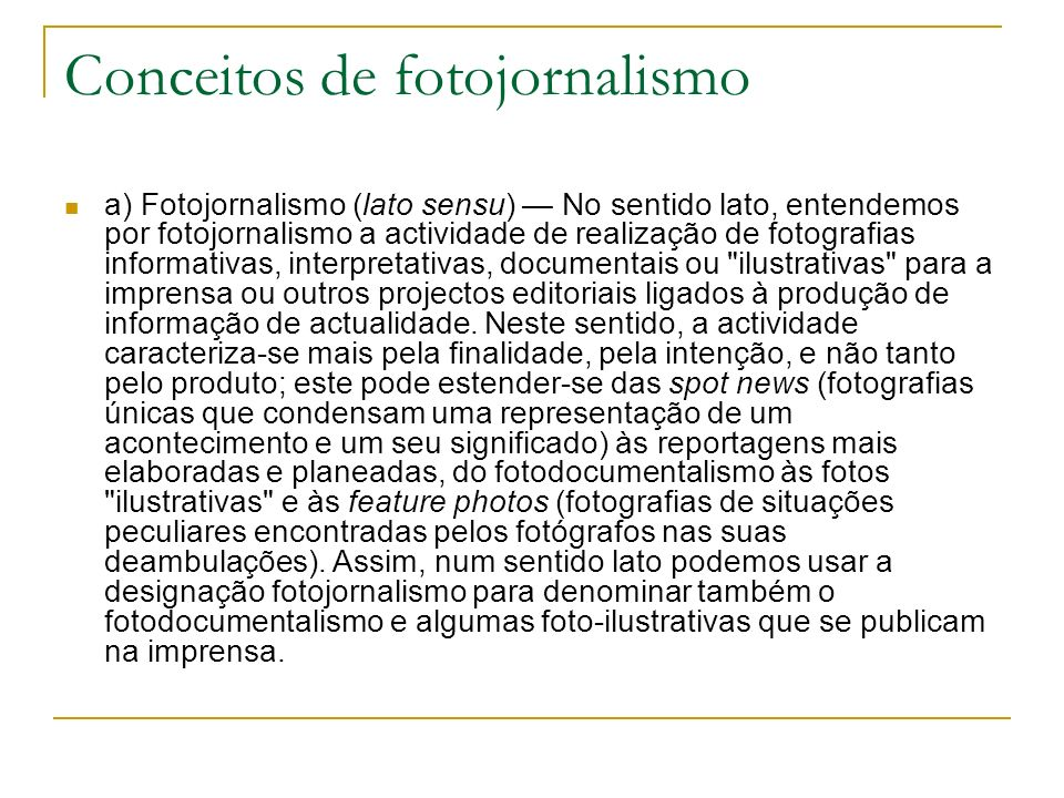 Conceitos de fotojornalismo