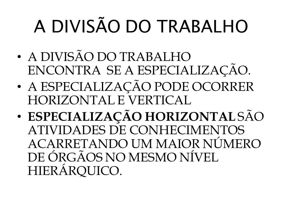 A DIVISÃO DO TRABALHO A DIVISÃO DO TRABALHO ENCONTRA SE A ESPECIALIZAÇÃO. A ESPECIALIZAÇÃO PODE OCORRER HORIZONTAL E VERTICAL.