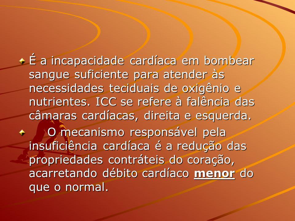 É a incapacidade cardíaca em bombear sangue suficiente para atender às necessidades teciduais de oxigênio e nutrientes. ICC se refere à falência das câmaras cardíacas, direita e esquerda.