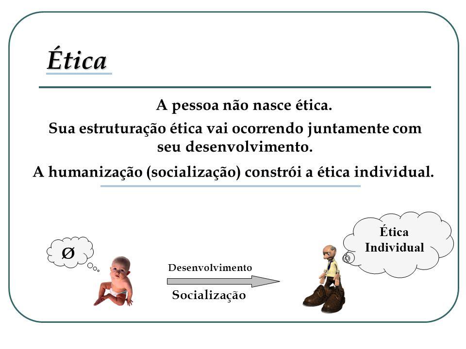 Ética Ø A pessoa não nasce ética.