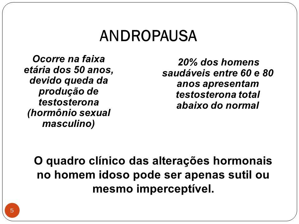 ANDROPAUSA Ocorre na faixa etária dos 50 anos, devido queda da produção de testosterona (hormônio sexual masculino)