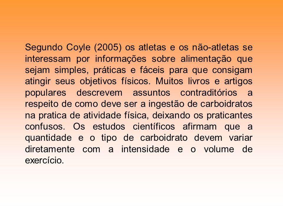 Segundo Coyle (2005) os atletas e os não-atletas se interessam por informações sobre alimentação que sejam simples, práticas e fáceis para que consigam atingir seus objetivos físicos.