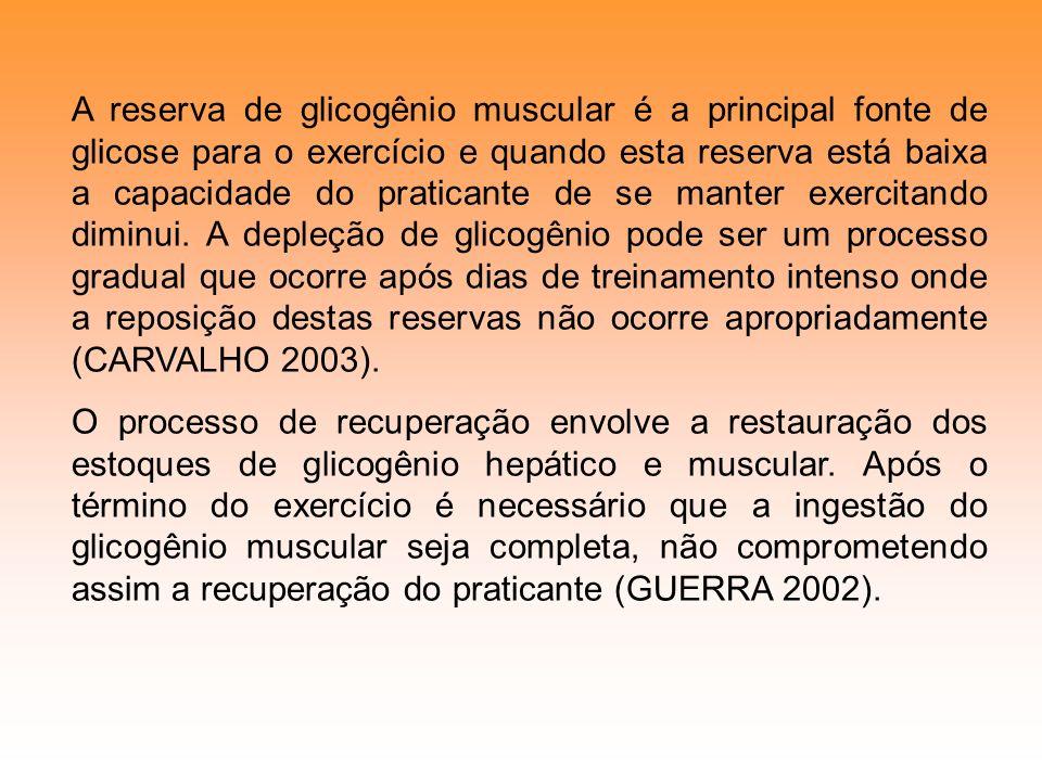 A reserva de glicogênio muscular é a principal fonte de glicose para o exercício e quando esta reserva está baixa a capacidade do praticante de se manter exercitando diminui. A depleção de glicogênio pode ser um processo gradual que ocorre após dias de treinamento intenso onde a reposição destas reservas não ocorre apropriadamente (CARVALHO 2003).