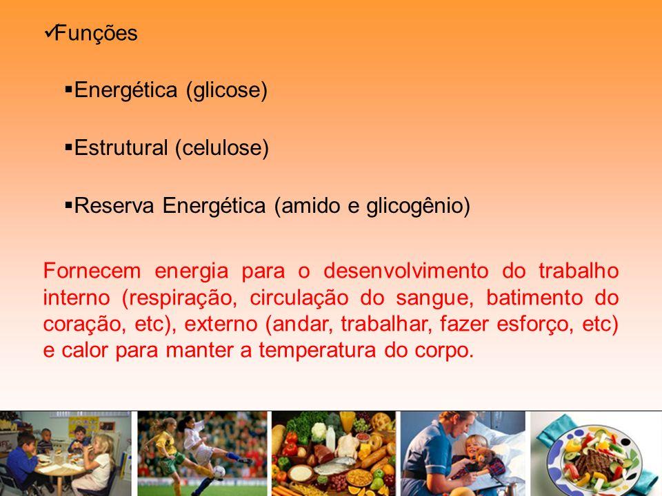 Funções Estrutural (celulose) Energética (glicose) Reserva Energética (amido e glicogênio)