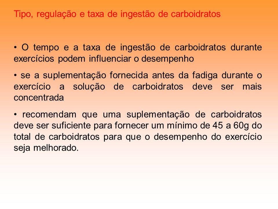 Tipo, regulação e taxa de ingestão de carboidratos
