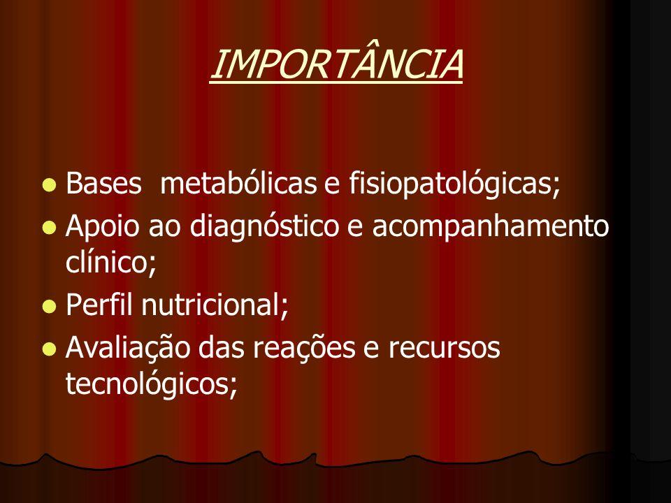 IMPORTÂNCIA Bases metabólicas e fisiopatológicas;