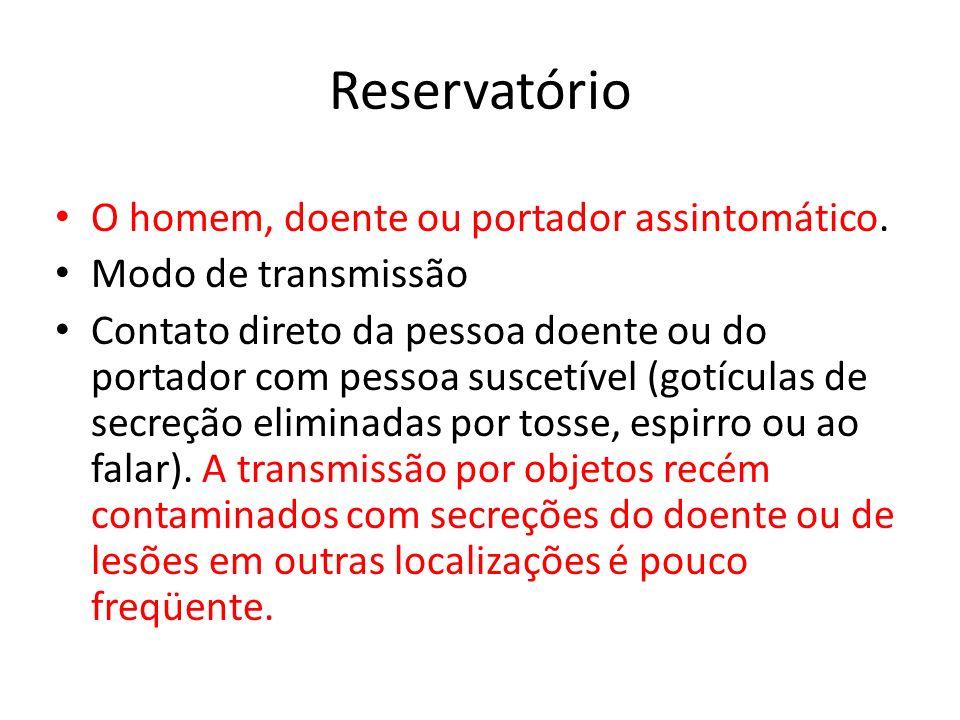 Reservatório O homem, doente ou portador assintomático.