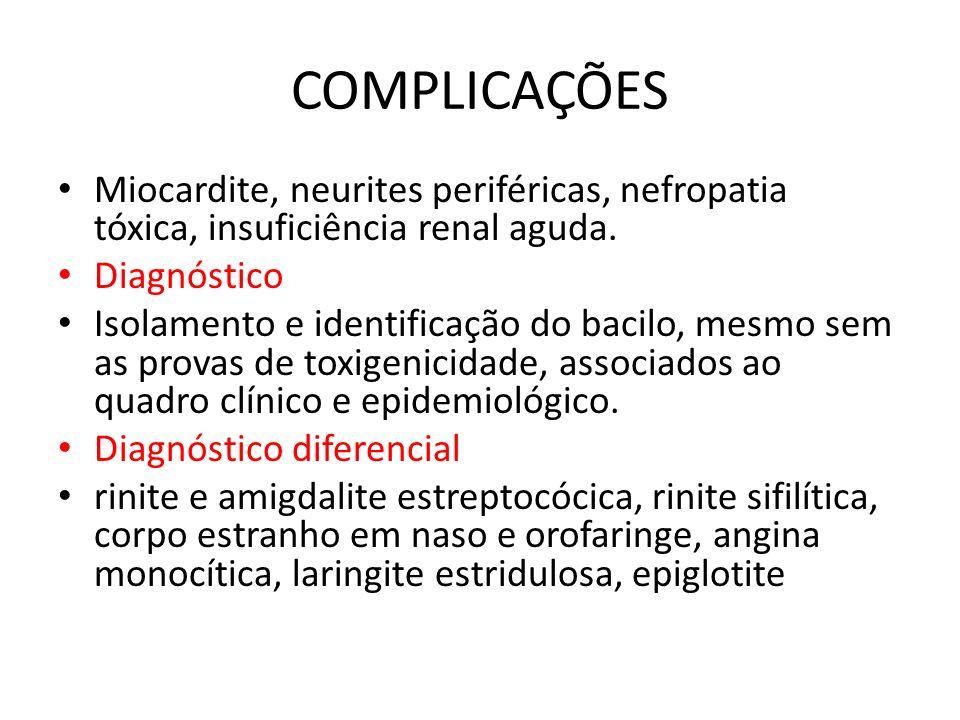 COMPLICAÇÕES Miocardite, neurites periféricas, nefropatia tóxica, insuficiência renal aguda. Diagnóstico.