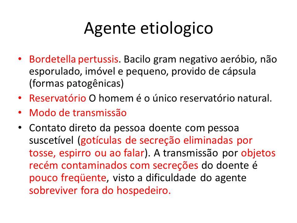Agente etiologico Bordetella pertussis. Bacilo gram negativo aeróbio, não esporulado, imóvel e pequeno, provido de cápsula (formas patogênicas)