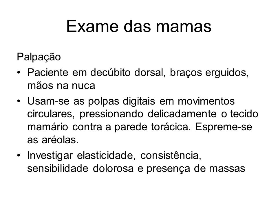 Exame das mamas Palpação