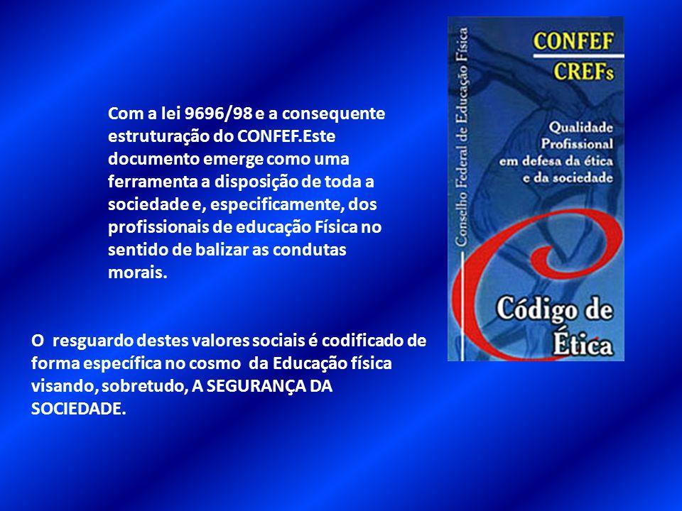 Com a lei 9696/98 e a consequente estruturação do CONFEF