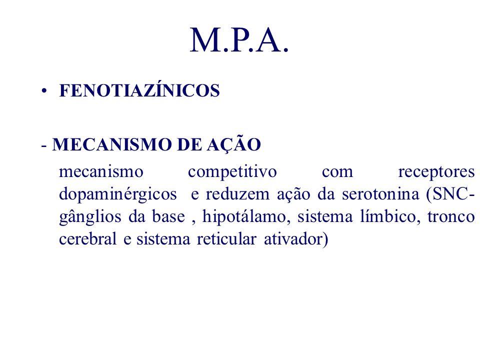 M.P.A. FENOTIAZÍNICOS - MECANISMO DE AÇÃO