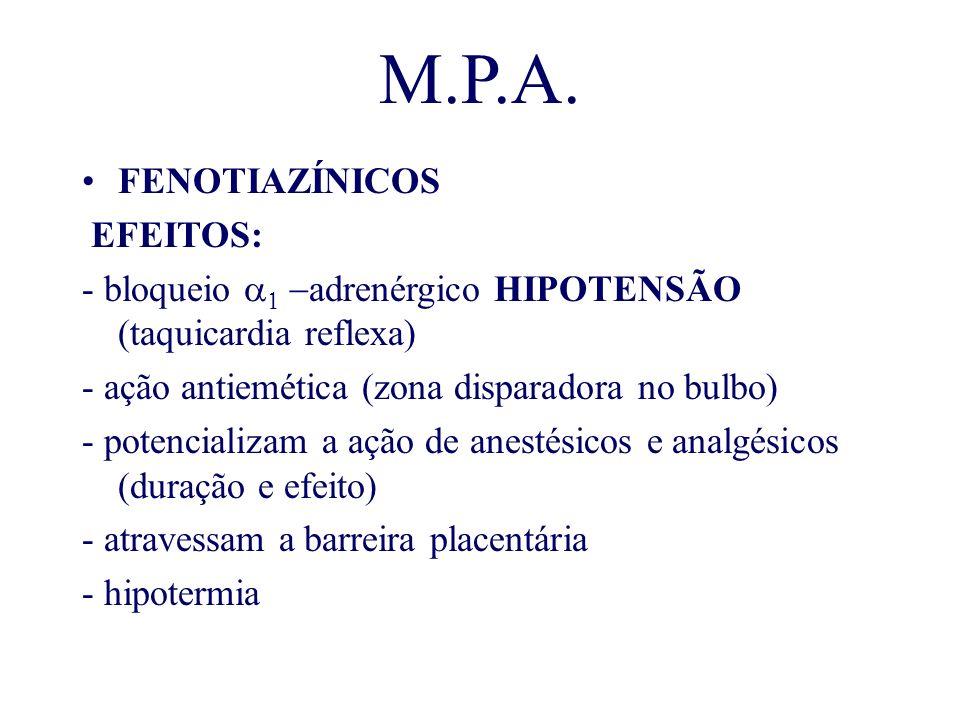 M.P.A. FENOTIAZÍNICOS EFEITOS:
