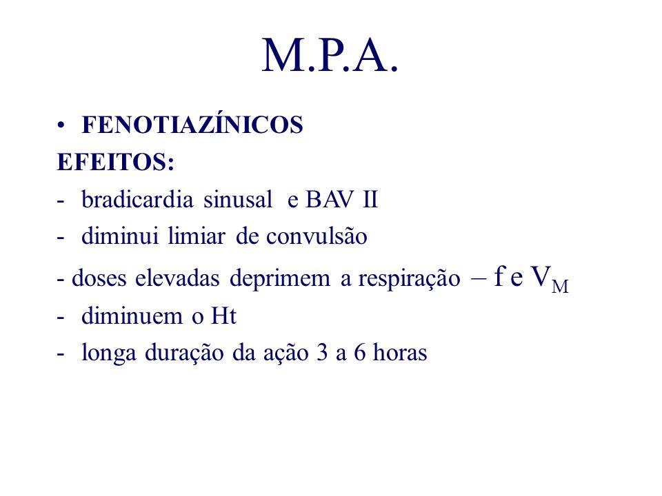 M.P.A. FENOTIAZÍNICOS EFEITOS: bradicardia sinusal e BAV II
