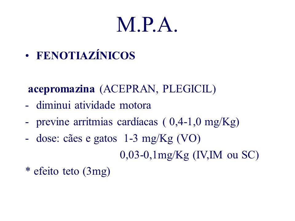 M.P.A. FENOTIAZÍNICOS acepromazina (ACEPRAN, PLEGICIL)