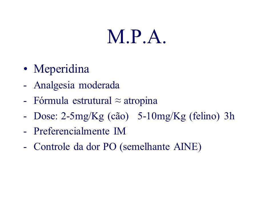 M.P.A. Meperidina Analgesia moderada Fórmula estrutural ≈ atropina