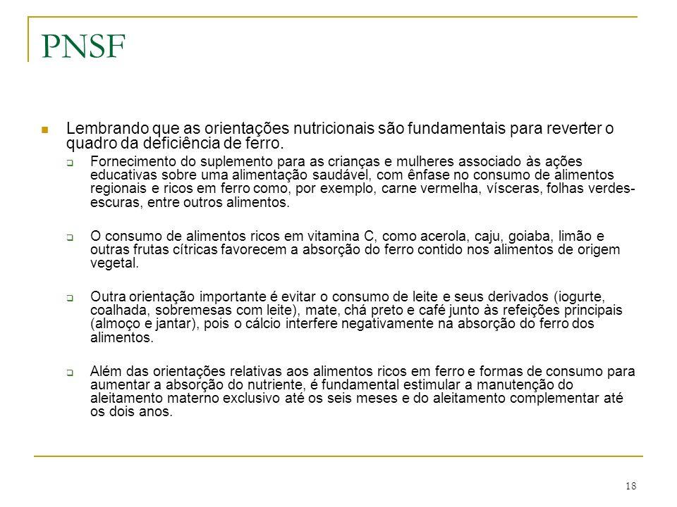 PNSF Lembrando que as orientações nutricionais são fundamentais para reverter o quadro da deficiência de ferro.