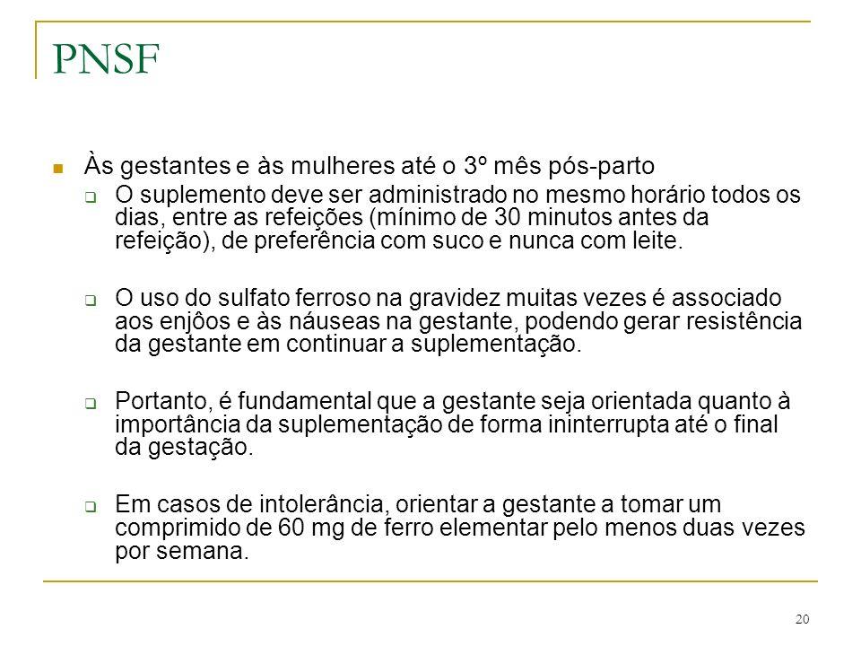 PNSF Às gestantes e às mulheres até o 3º mês pós-parto