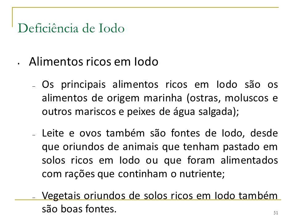 Deficiência de Iodo Alimentos ricos em Iodo