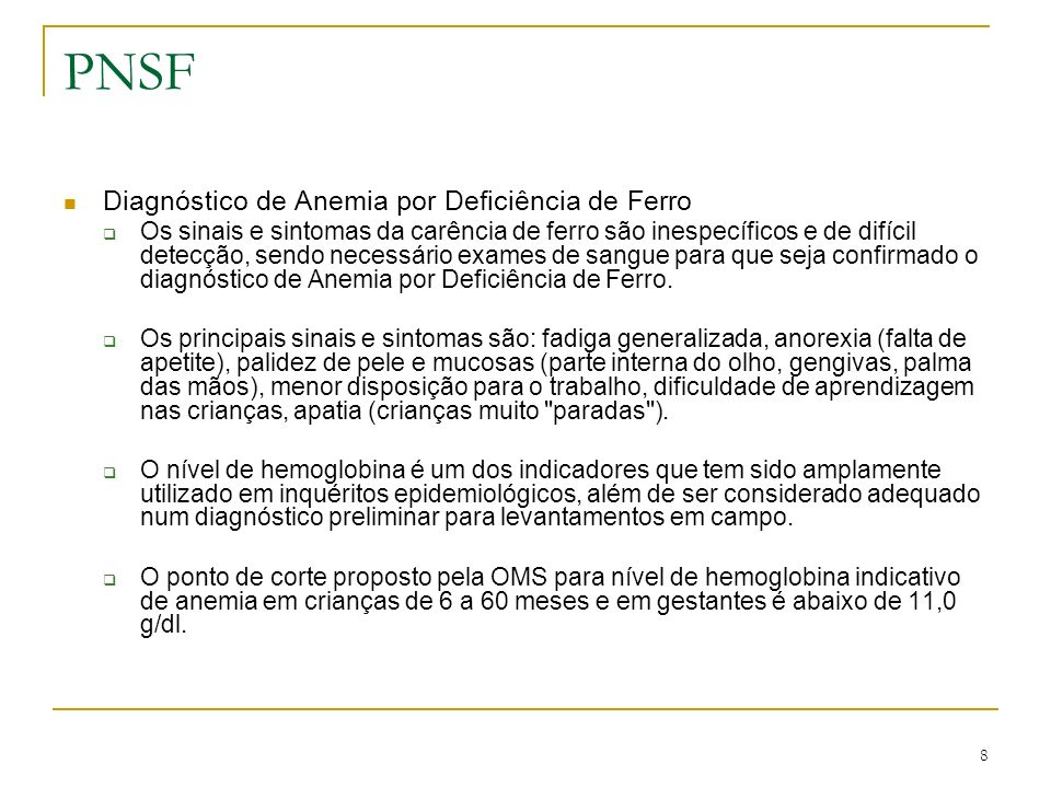 PNSF Diagnóstico de Anemia por Deficiência de Ferro