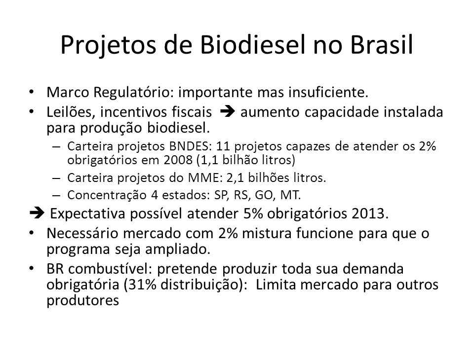 Projetos de Biodiesel no Brasil