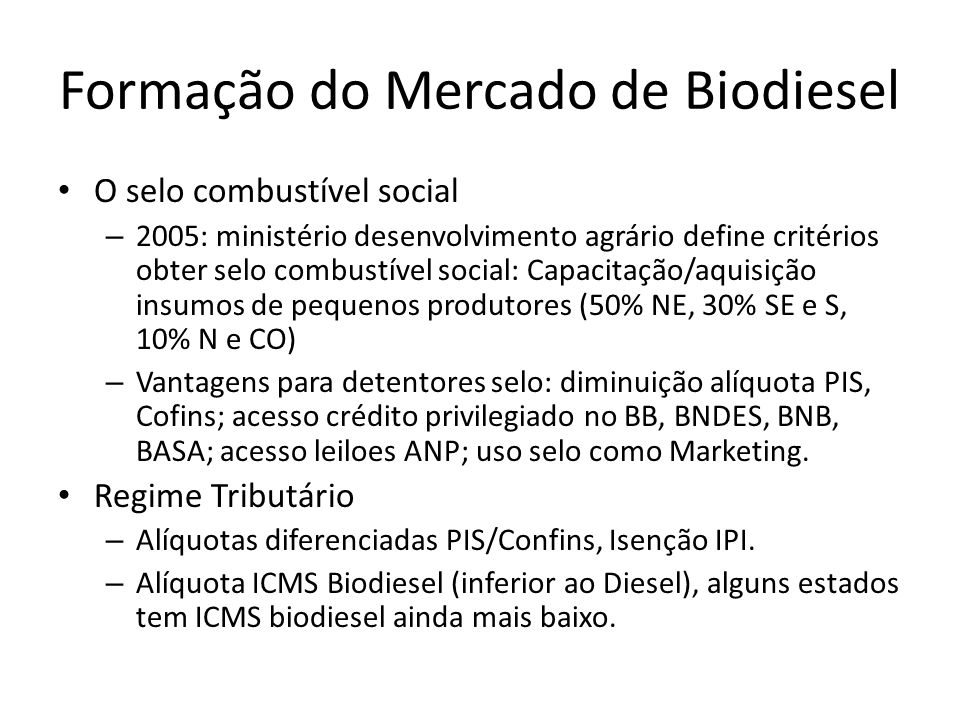 Formação do Mercado de Biodiesel