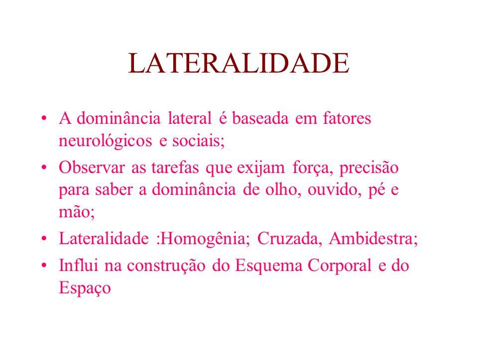 LATERALIDADE A dominância lateral é baseada em fatores neurológicos e sociais;