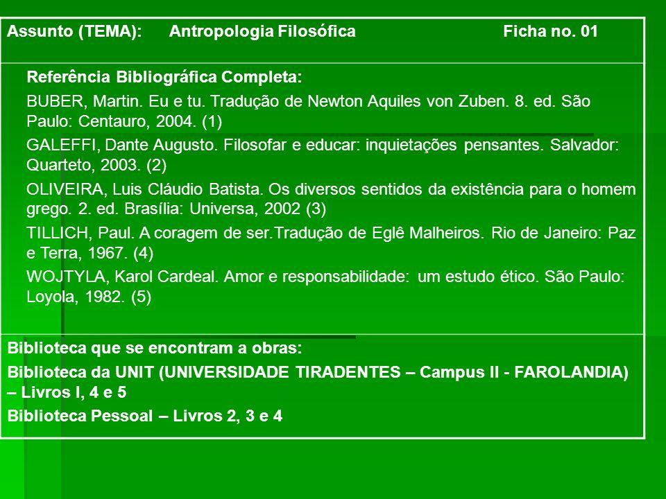 Assunto (TEMA): Antropologia Filosófica Ficha no. 01