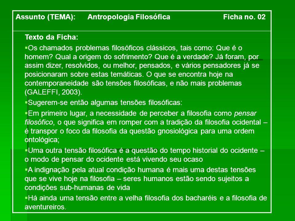 Assunto (TEMA): Antropologia Filosófica Ficha no. 02