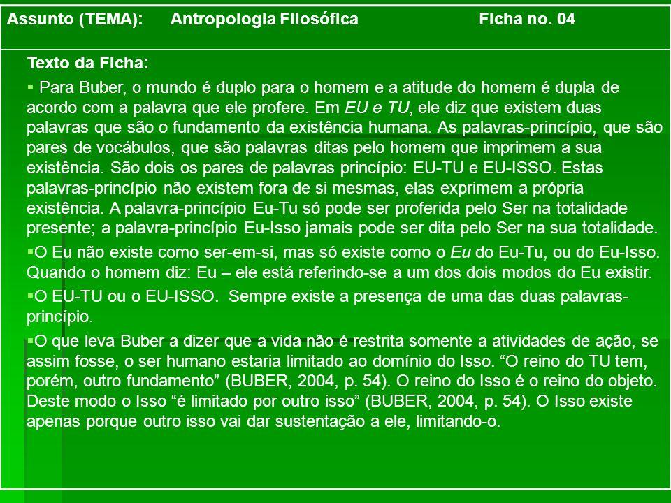 Assunto (TEMA): Antropologia Filosófica Ficha no. 04