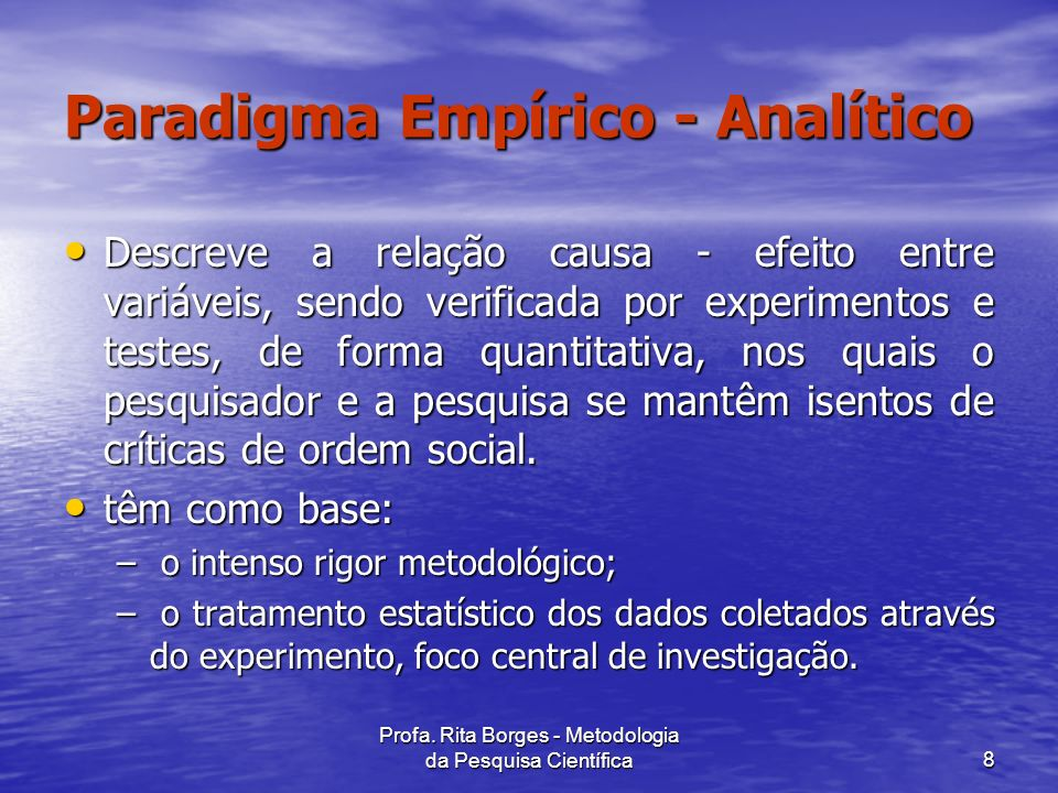 Paradigma Empírico - Analítico