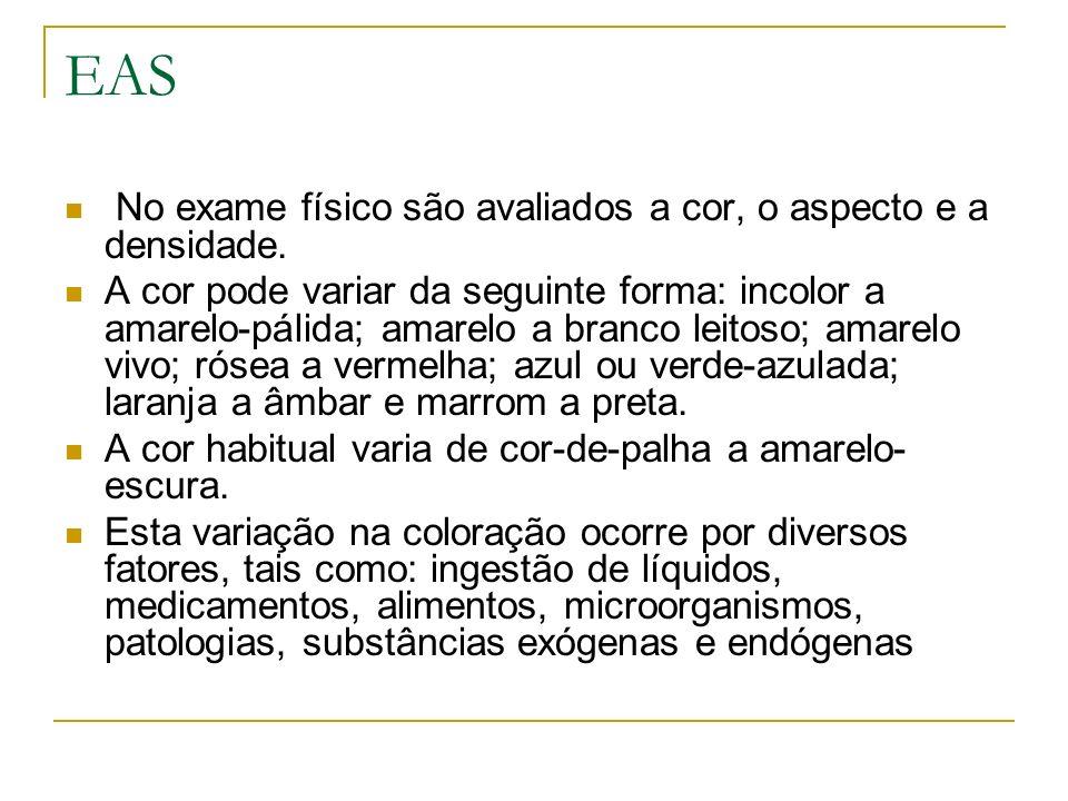 EAS No exame físico são avaliados a cor, o aspecto e a densidade.