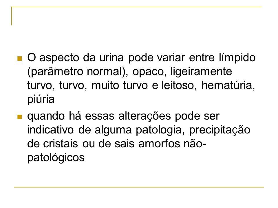 O aspecto da urina pode variar entre límpido (parâmetro normal), opaco, ligeiramente turvo, turvo, muito turvo e leitoso, hematúria, piúria