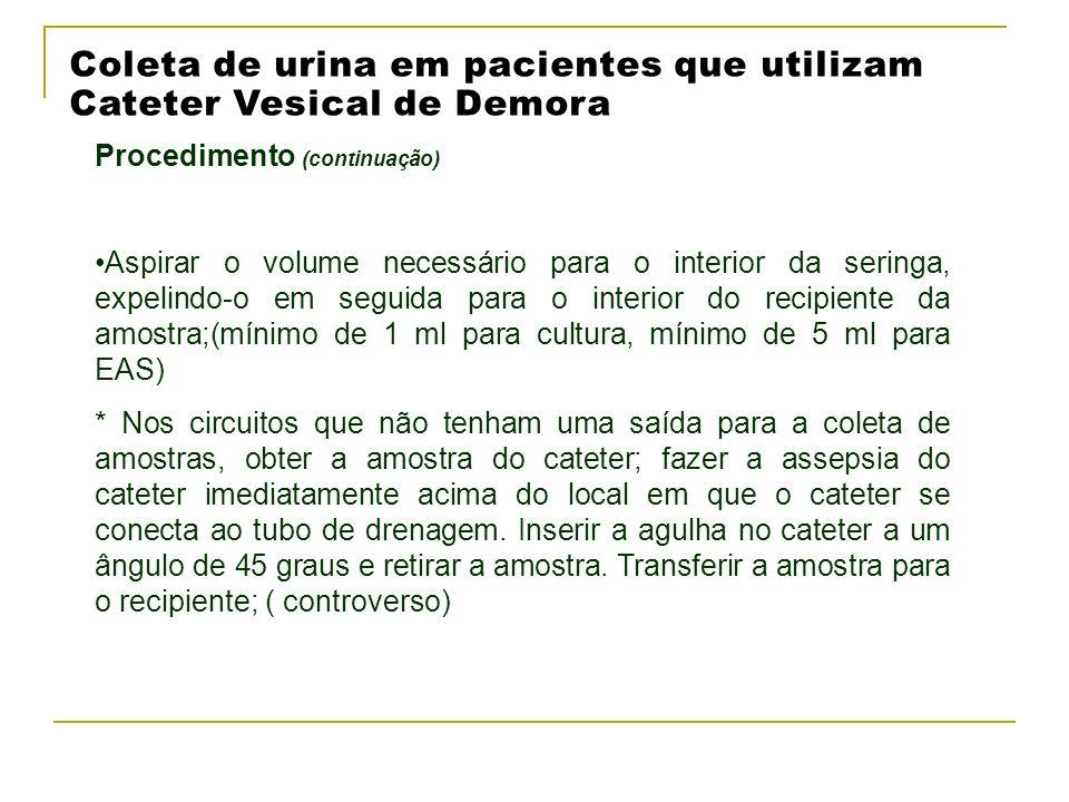 Coleta de urina em pacientes que utilizam Cateter Vesical de Demora