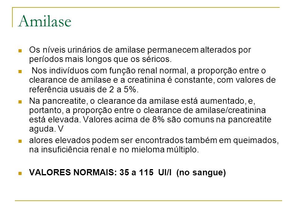 Amilase Os níveis urinários de amilase permanecem alterados por períodos mais longos que os séricos.