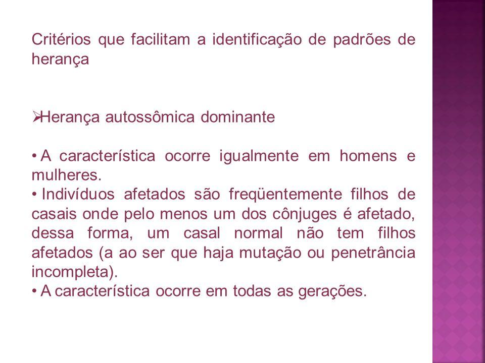 Critérios que facilitam a identificação de padrões de herança