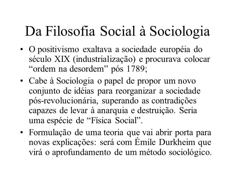 Da Filosofia Social à Sociologia