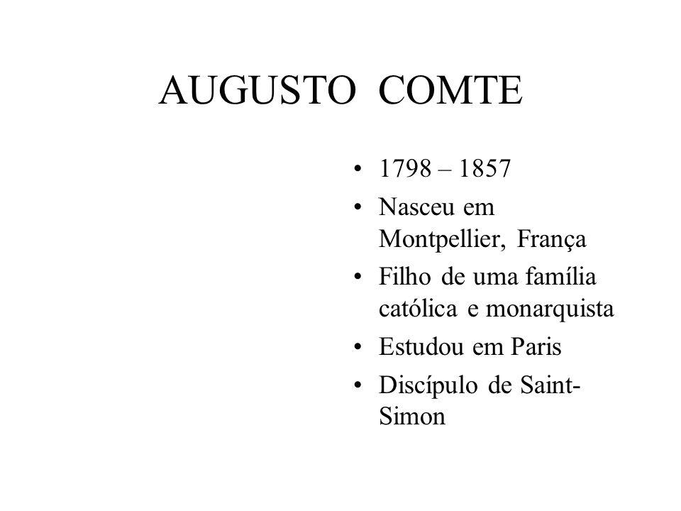 AUGUSTO COMTE 1798 – 1857 Nasceu em Montpellier, França