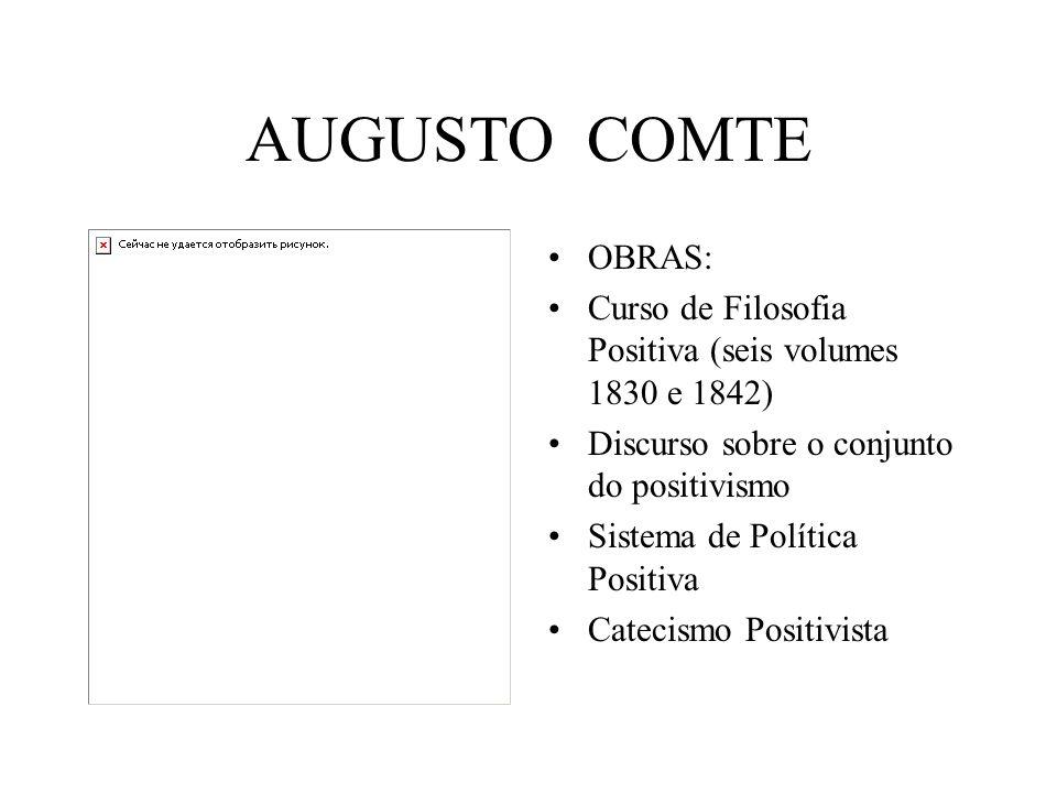 AUGUSTO COMTE OBRAS: Curso de Filosofia Positiva (seis volumes 1830 e 1842) Discurso sobre o conjunto do positivismo.