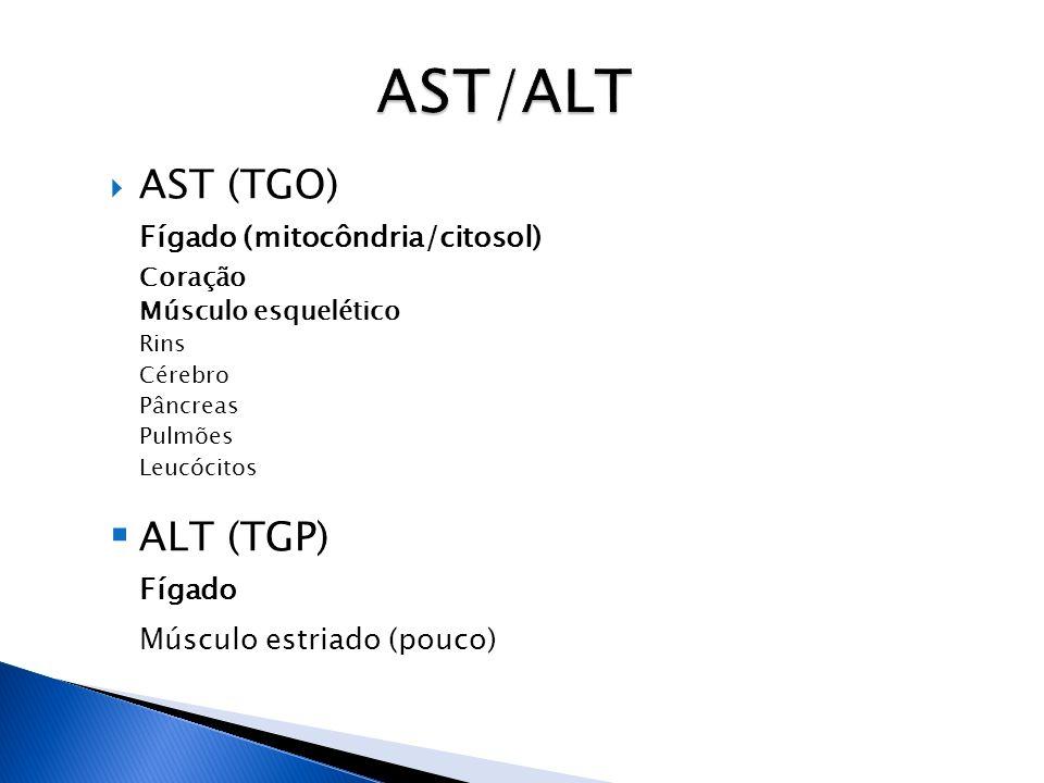 AST/ALT AST (TGO) Fígado (mitocôndria/citosol) ALT (TGP) Fígado