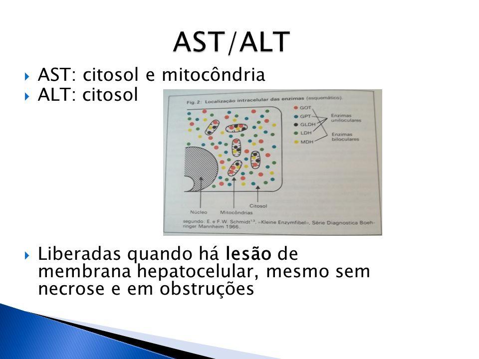 AST/ALT AST: citosol e mitocôndria ALT: citosol