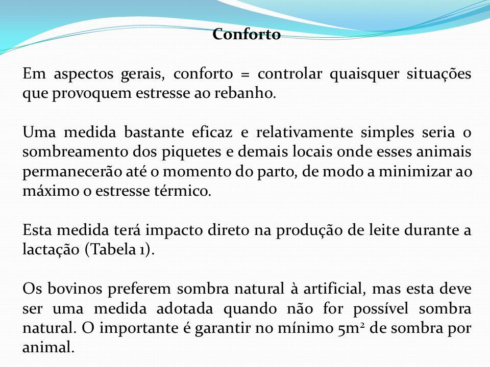Conforto Em aspectos gerais, conforto = controlar quaisquer situações que provoquem estresse ao rebanho.