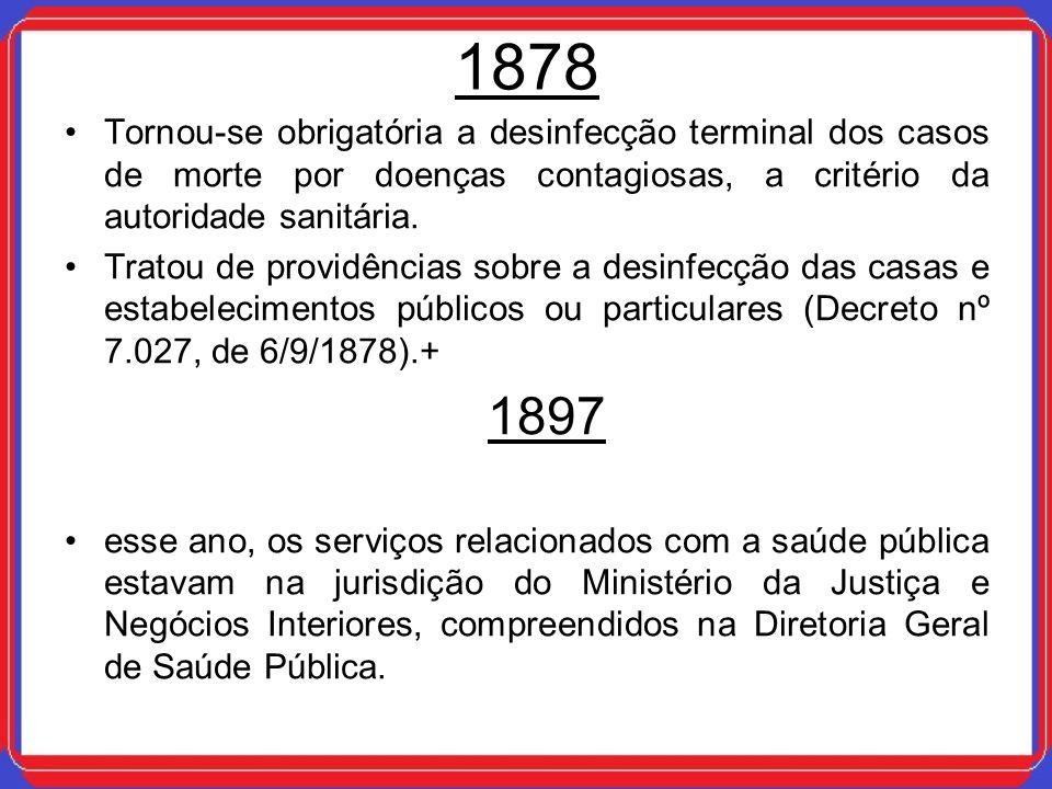 1878 Tornou-se obrigatória a desinfecção terminal dos casos de morte por doenças contagiosas, a critério da autoridade sanitária.