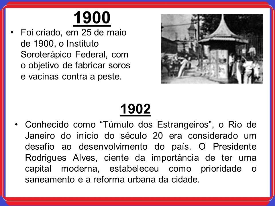 1900Foi criado, em 25 de maio de 1900, o Instituto Soroterápico Federal, com o objetivo de fabricar soros e vacinas contra a peste.