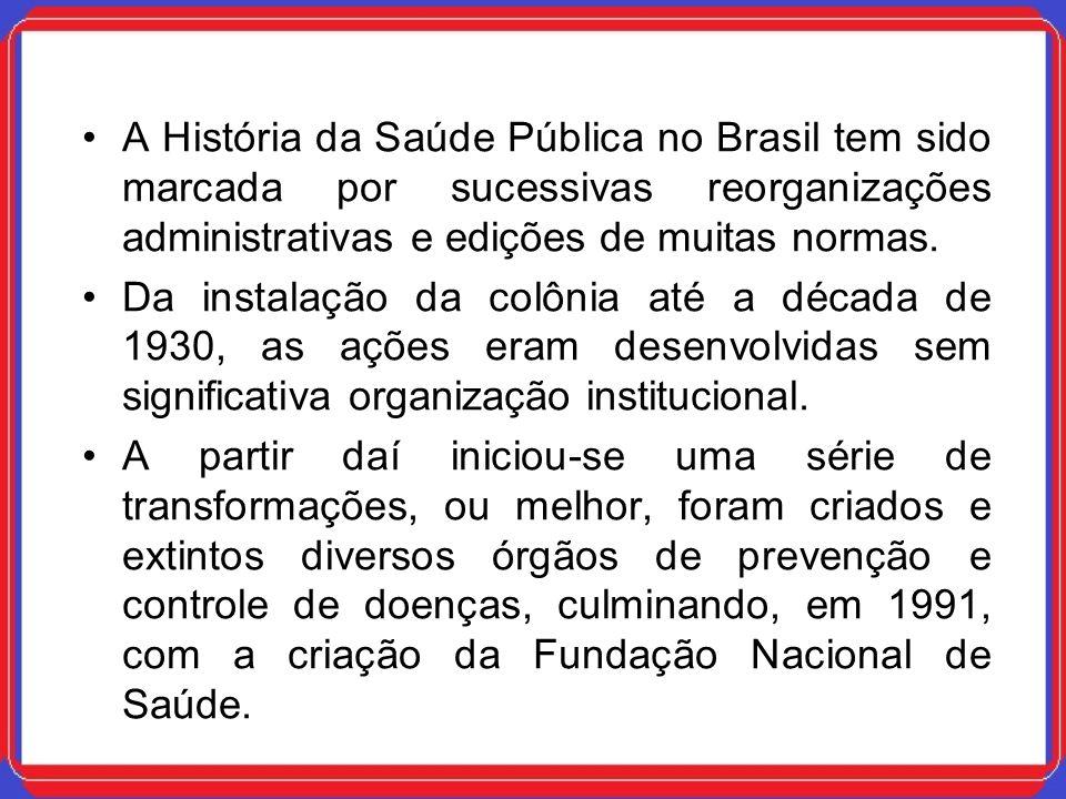 A História da Saúde Pública no Brasil tem sido marcada por sucessivas reorganizações administrativas e edições de muitas normas.