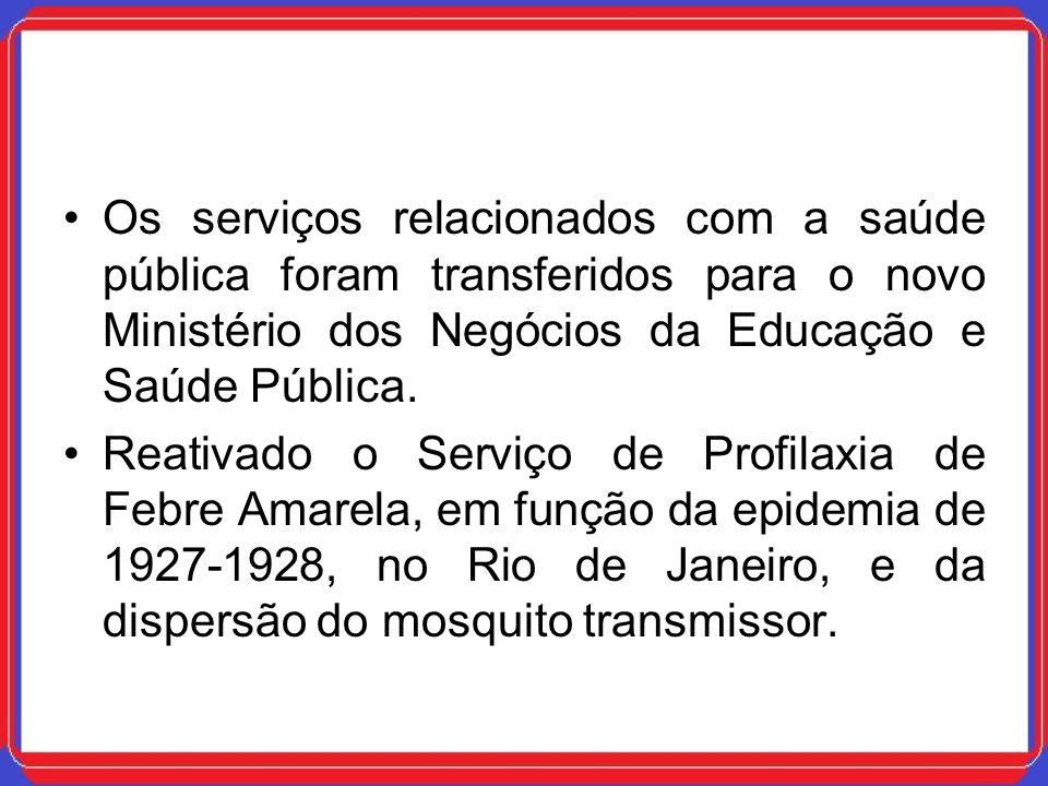 Os serviços relacionados com a saúde pública foram transferidos para o novo Ministério dos Negócios da Educação e Saúde Pública.