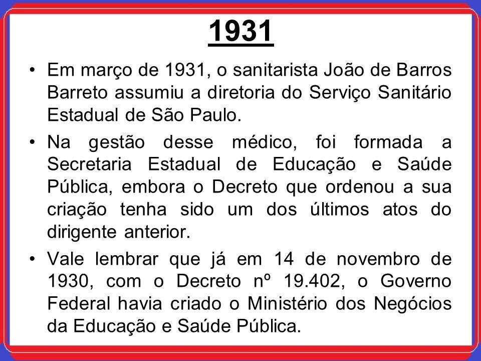1931 Em março de 1931, o sanitarista João de Barros Barreto assumiu a diretoria do Serviço Sanitário Estadual de São Paulo.